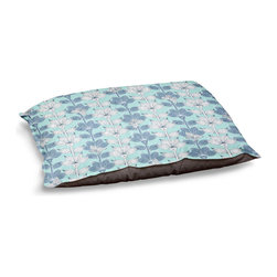"""DiaNoche Designs - Dog Pet Bed Fleece - White and Blue Flowers - DiaNoche Designs works with artists from around the world to bring unique, designer products to decorate all aspects of your home.  Our artistic Pet Beds will be the talk of every guest to visit your home!  BARK! BARK! BARK!  MEOW...  Meow...  Reallly means, """"Hey everybody!  Look at my cool bed!  Our Pet Beds are topped with a snuggly fuzzy coral fleece and a durable indoor our underside material.  Machine Wash upon arrival for maximum softness.  Made in USA."""