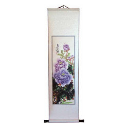 Oriental-Décor - Lavender Chinese Peonies Scroll - Why buy a costly frame for your one-of-a-kind paintings? This hand-painted peony painting on rice paper is expertly matted on a silk scroll for the ultimate in effortless elegance for your wall.