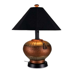Venetian Copper Outdoor Table Lamp - Light to your outdoor living area with the casual yet elegant styling of our Venetian outdoor table lamp. Completely waterproof these lamps feature all resin construction, a heavy weighted base with carbon black accents and an Unbreakable poly carbonate waterproof light bulb enclosure allows the use of a standard 100 watt light bulb. Venetian outdoor lamps have a two level dimming switch and 16 ft weatherproof cord & plug.
