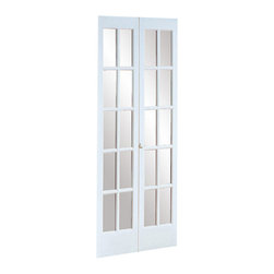 None - 527 Traditional Divided Glass 36 x 80.5-inch Prefinished White Bifold Door - This classic ...