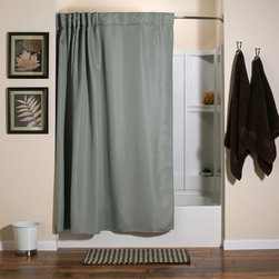 Other Brands - Aulaea Infinity Collection Curtain and Liner Set - ICSUN01 - Shop for Shower Curtains from Hayneedle.com! The Creative-Curtain is an integrated shower curtain system designed to alleviate frustrations related to the care and use of shower curtains their liners and conventional shower curtain hooks. Conveniently able to be laundered separately or all at once the Creative-Curtain system features a set of sleek durable hooks sewn into a luxurious 100% polyester shower curtain and a 100% polyester high-quality liner. Because the hooks are sewn into the curtain and all parts of the system are suited for machine-washing and tumble-drying the entire system may be removed laundered and reinstalled quickly and easily. Curtain and liner in Sunrise color.