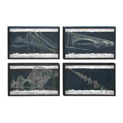 UMA - Famous Bridges of the World - 4 Panel Wood Art - Famous bridges from New York to Venezuela are featured in this 4-panel etched wall art set.