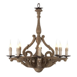 Antique Wood Art 8 Lights  Chandelier in Rusted Finish -