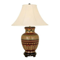 Mario Industries - Ceramic Lamps: Southwest Influenced 29 in.Multi Color Table Lamp 09T640 - Shop for Lighting & Fans at The Home Depot. Hand painted ceramic table lamp with Southwest design & colors. Browns, greens and gold s give this lamp an earthy feel. Sits atop a round dark wood base. swih on base for ease of use. This lamp is finished with a sewn eggshell color shade and matching wood ball finial. Three way socket