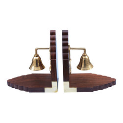 Handcrafted Model Ships - Bell Book Ends Handbell Beach Interior Decoration Cheap Beach Living - New - The Hampton Nautical Brass Bell Bookends are a great addition to any bookcase or shelf. This is a set of two bookends. These sturdy bookends are made of Shisham wood, which is a rare wood with a smooth polished finish. Each wood bookend features a solid brass anchor with rope decal that holds a real brass ships bell to be rung. The corners of the wood bookend feature L-shaped brass fittings and roundeDecorners in the front. The bottom has a thin, green felt base. For your satisfaction we offer a 100% money back guarantee, no hassle returns, in-store pickup, and professional packaging and inspections on all shipped items.