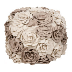 Surya - Surya SUR-POUF-28 Pouf - This floral pouf brings fun and fashion to any space. Colors of parchment and cobble stone accent this round pouf.