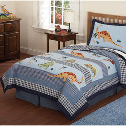 None - Dino Dave Cotton 4-piece Quilt Set - Dress your child's bed with the adorable Dino Dave quilt set including shams to complete the look. This cotton set features dinosaur patterns in a multicolored finish.