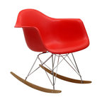 East End Imports - Eames Style Plastic Molded Rocking Chair - Not Grandma's rocking chair, this mid-century Eames style retro modern rocker, has the avant-garde style of today that adds pizzazz to your room. Still a comfortable seat for lulling children to sleep or moving in time to music, this rocking chair is the symbol of the modern home._