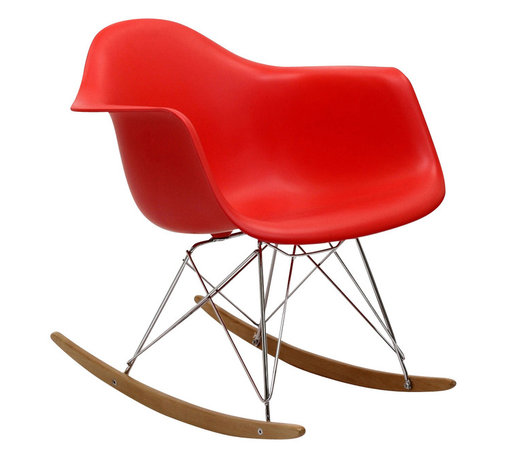 East End Imports - Eames Style Plastic Molded Rocking Chair Red - Not Grandma's rocking chair, this mid-century Eames style retro modern rocker, has the avant-garde style of today that adds pizzazz to your room. Still a comfortable seat for lulling children to sleep or moving in time to music, this rocking chair is the symbol of the modern home.