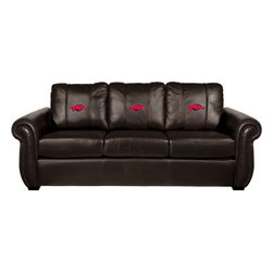 Dreamseat Inc. - University of Arkansas NCAA Chesapeake Black Leather Sofa - Check out this Awesome Sofa. It's the ultimate in traditional styled home leather furniture, and it's one of the coolest things we've ever seen. This is unbelievably comfortable - once you're in it, you won't want to get up. Features a zip-in-zip-out logo panel embroidered with 70,000 stitches. Converts from a solid color to custom-logo furniture in seconds - perfect for a shared or multi-purpose room. Root for several teams? Simply swap the panels out when the seasons change. This is a true statement piece that is perfect for your Man Cave, Game Room, basement or garage.