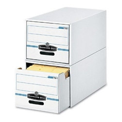 Fellowes Bankers Box Light Duty Stackable Filing Drawers - Set of 6 - Those everyday files fit perfectly in the Fellowes Bankers Box Stor / Drawer Stackable Filing Drawers . This set of stackable storage drawers includes your choice of either 6 legal filing storage drawers that each measure 15.5W x 23.25D x 10.375H inches or 6 letter filing storage drawers that each measure 12.5W x 23.25D x10.375H inches. These drawers were built for light-duty use. They have reinforced plastic handles reinforced front and back panels and feature multi-wall thickness on drawer sides and back.About United Stationers Inc.United Stationers Inc. is North America's largest broad-line wholesale distributor of business products. The company stocks more than 100 000 items from approximately 1 000 manufacturers including a broad and deep selection of technology products office products office furniture janitorial and break-room supplies and industrial products.About Hon IndustriesHon Industries was founded after World War II when three businessmen used scrap metal to manufacture index card file boxes for kitchen use. Since this humble beginning Hon has grown into the second largest U.S. office furniture manufacturer and has become an industry leader in file cabinets. The Muscatine Iowa based company offers a complete line of office furniture in both wood and steel. Their innovative designs and fine craftsmanship have made the Hon brand famous for quality durability and practicality.