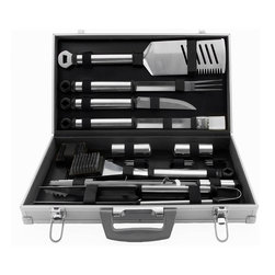Mr. Bar B Q - Mr. Bar-B-Q Stainless Steel 21-piece Tool Set - Give a professional touch to your outdoor cooking with the Mr. Bar-B-Q Prestige Stainless Steel Tool Set that offers all of the classic barbecue tools.