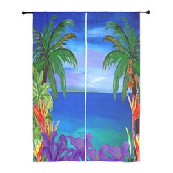 xmarc - Palm Tree Tropical Sheer Curtains, Purple Lily Tropical Beach - The windows have it with these sheer, decorative curtains. Romantic and flowing, these elegant chiffon window treatments finish a room with the perfect statement