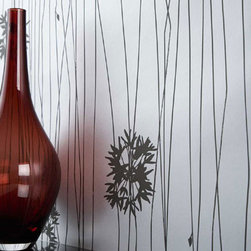 Forest Flower (Silver) Wallpaper by Ferm Living - Adding Forest Flower wallpaper to your wall is like hanging one gigantic contemporary painting. Its lines create a rhythm while its sweet flower bursts punctuate it with pretty chords.