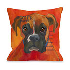 OneBellaCasa - Red 'Boxer' Pillow - Add a pop of playful humor to your room with this pillow's lively design. Filled with down alternative, this doggone-comfy piece is made for snuggling with a precious pooch. �� 18'' W x 18'' H 100% polyester Spot clean Made in the USA