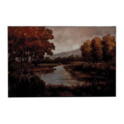 Benzara - Trees and River Themed Classy Canvas Art Wall Decor - Trees and river themed classy canvas art wall decor. This beautiful and excellent canvas art will bring a new lease of freshness to your home. Painted in dark hues gives this canvas art a unique flair. Some assembly may be required.