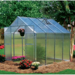 Riverstone Industries - Riverstone Industries Monticello 8 x 8 ft. Greenhouse - MONT-8-BK - Shop for Greenhouses from Hayneedle.com! Not all greenhouses are built the same and Riverstone Industries Monticello 8 x 8 ft. Greenhouse is here to prove it. First off this greenhouse is proudly made in the USA. Monticello applies good old American ingenuity to make the best product for their customers which helps elevate the industry standards of all greenhouses.This greenhouse is constructed from the highest quality US-grade extruded aluminum not the thinner and more brittle foreign aluminum. It features a protective coating in select color options. The coating is guaranteed to contain 0.0% lead. On average this greenhouse uses over 40 pounds more aluminum than the typical imported greenhouse. Why is this important? A weaker framework suffers more wind damage and can handle less snow before collapsing. While most hobby greenhouses on the market use less expensive thinner walls and roofing materials (the crystal clear walls are as thin as .2mm) the Monticello uses professional-grade 8mm twin wall polycarbonate. This is the same thickness used in the commercial greenhouses. The twin wall polycarbonate acts as a double paned window keeping cooler air in during warm months and insulating the greenhouse from cold air in the wintertime. This makes the Monticello more efficient than other greenhouses. It also adds to the efficiency of growing cutting down electric bills for those who choose to grow year round. The average greenhouse on the market today takes a full weekend to assemble. This is why many greenhouse owners say their top issue in the first two months of ownership is the actual set-up. Through a combination of using superior materials and creating interchangeable parts the Monticello takes the average gardener 6-8 hours to assemble an 8 ft. x 8 ft. greenhouse while using fewer parts. This does not include the base prep work needed which includes leveling the ground. A