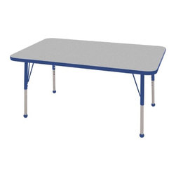 "ECR4Kids - 30"" x 48"" Rectangular Adjustable Activity Table in Gray - ELR-14110-XX: Table tops feature stain-resistant and easy to clean laminate on both sides with edge banding and color-coordinated adjustable height legs. ECR adjustable leg activity tables feature 1.125 thick tabletops with laminate on both the top and bottom. Color-coordinated powder-coated upper legs, edgebanding, and matching polypropylene ball glides in the most popular classroom colors. Will not fade or discolor. Safe, non-toxic, stain-resistant and easy to clean. Tabletop Details: -Laminate table tops are 1.125 thick and are laminated on both sides. -Color-banding grips into the tabletop edges. -Color banding is made from PET and contains no phthalates. -The table substructure is made from medium-density particleboard (47 lb/ft³) that is at least 90% recycled (minimum 4% post-consumer, balance pre-consumer).. -EPP certified, CARB compliant and may contribute to US Green Building Councils LEED Credits. -18 gauge galvanized steel stability bars, with poly caps, installed on underside of all 66 - 72 length tables. -Superior shipping materials meet or exceed ISTA regulations. Leg Details: -Powder-paint coated upper leg. -Chrome-plated adjustable lower leg insert. -Legs are adjustable in 1 increments. -Threaded adjustment holes in chrome lower leg keeps legs securely in place. -Color coordinated polypropylene ball glides and nylon swivel glides available. -Easy mount leg installation with pre-installed brackets and pre- drilled screw holes for easy alignment. -Toddler Leg size (15"" - 23""). -Standard Leg size (19"" - 30""). -Chunky Leg size (15"" - 24"")."