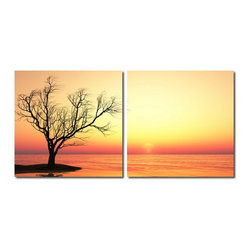 """Wholesale Interiors - Blazing Horizon Mounted Photography Print Diptych - Shades of red, yellow, and orange glow along the horizon in this vivid, inspiring photograph. Made in China with MDF wood frames, this two-piece modern wall art set features an image split in half and printed on two waterproof vinyl canvases. The Blazing Horizon Diptych is made in China and is fully assembled. Hardware for hanging on the wall of your choice is not supplied. To clean, wipe with a dry cloth. Product dimension: 19.68""""W x 1""""D x 19.68""""H."""