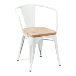 Marais Armchair, Wood Seat, White - I love the wooden seat paired with the white metal frame on this modern yet rustic piece.
