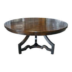 Three Leg Round Dining Table - Distressed Brown - Plenty of legroom and a solid, handsome top set apart this traditionally-crafted round dining table. Its three legs boast subtle curves, the ogee foot of the old world pared down into a precise detail, joining a triangular stretcher to bent uprights. in a sufficiently roomy dining room, six people can sit comfortable around this versatile table which complements the structure of elegant traditional dining chairs or sleek transitional ones with ease.