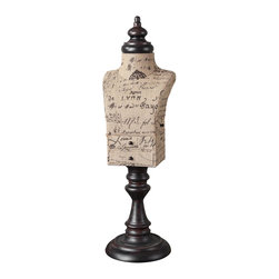 Burlap Jewelry Mannequin Stand - *Script-printed Burlap With Mahogany Finished Metal Details. Small Drawers Open For Storage On The Front And Side. The Burlap Script Will Be Different On Each One.