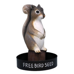 Songbird Essentials - Sitting Squirrel Round Metal Tray Birdfeeder - Songbird Essentials' birdfeeders are built around a metal tray with a mesh bottom to allow for proper drainage. Next, we add a hand-carved and painted figure to keep watch while our feathered friends eat. Each birdfeeder is coated with polyurethane to protect them from the elements and comes ready to hang.