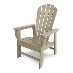 Polywood - Eco-friendly Dining Chair in Sand - Ideal for dining and casual seating. Create a world-class dining experience in your own back yard with the South Beach dining chair. Want to turn your outdoor living space into the hottest spot in the neighborhood? Its easy with the South Beach Collection. Just like the popular Miami Beach scene, you'll enjoy an eclectic blend of bold art deco along with the relaxed comfort and style that you've come to expect from traditional Adirondack furniture. This collection not only looks amazing, but its also built to last for years to come. Provides the look of painted wood without the maintenance