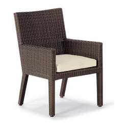 Frontgate - Palermo Dining Arm Chair Cushion, Patio Furniture - Premium, high-performing fabrics. UV-treated to resist fading. 100% solution-dyed and woven for superior color fastness and longevity. High-resiliency, high-density foam core with soft polyester wrap provides years of support without sagging. Includes cushions only; all furniture pieces sold separately. Our collection replacement cushions instantly update the seating with comfort and all-weather endurance. The cushions' high-performing fabrics resist fading and mildew, and are easy to clean. Multiple layers of fill help the cushions maintain their loft. . . . . . Clean with mild soap and water or a mild solution of water and bleach.