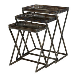 Adarn Inc - Modern Eyecatching Reflections Gloss Metal Finish Nesting Nested Tables - Industrial and vintage combine to form these eye-catching Metal Nesting Tables. The set of three graduated tables feature trendy, sturdy shaped legs and flat spacious tabletops. The gloss metal finish makes this set distinctively different. Will instantly add function and style to your decor.