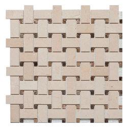 Mission Stone Tile - Basketweave Mosaic Tile, Crema Marfil/Emperador Dark Dot, Polished, 1 Square Ft - Crema Marfil Marble with Emperador Dark Marble Dots - Polished