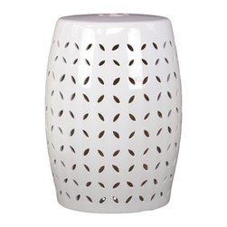 Urban Trends Collection - White Ceramic Garden Stool - The perfect accent piece for your indoor or outdoor space,this ceramic garden stool in crisp white is elegant and dramatic. Supple curved lines and a clean pattern of cut stylized leaves mix into a piece that catches the eye and brightens up your space.