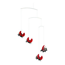Flensted Mobiles - Lady Bird Mobile - Ladybird, ladybird, fly away home — and take me with you! Whatever the season outside, any house graced with these sweet ladybugs will always have that touch of summer.