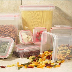 None - Lock and Seal 14-piece Storage Container Set - These storage containers feature click and lock airtight lids that seal and lock-in the freshness. Constructed with food grade plastic,these durable storage containers nest for easy storage.