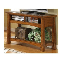 Riverside Furniture - Craftsman Home Console Table in Americana Oak - Fixed bottom shelf. Wood framed top. Two top storage areas with wiring access. Slate tile border. Reverse diamond veneer panel insert. Tip restraining hardware. Made from hardwood solid and oak veneer. 48 in. W x 17 in. D x 30 in. H (94 lbs.). Assembly Instruction