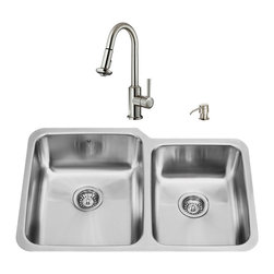 """VIGO Industries - VIGO All in One 32-inch Undermount Stainless Steel Kitchen Sink and Faucet Set - Modernize the look of your entire kitchen with a VIGO All in One Kitchen Set featuring a 32"""" Undermount sink, faucet, soap dispenser, matching bottom grids and strainers."""