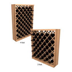 Wine Cellar Innovations - Individual Diamond Bin; WineMaker: Premium Redwood Unstained - 4 Ft - With the enhanced design of the Individual Diamond Bin wine rack, each wine bottle is stored in an individual cradle, yet at a diagonal pattern, creating a very dramatic storage display for your wine bottles. Assembly Required.
