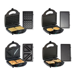Koolatron - 4-In-1 Multi-Purpose Indoor Grill in Black - Includes Koolatron total chef 4 in 1 grill, 1 waffle plate, 1 griddle plate, 1 sandwich plate and grill plate. Easy pop in and out cooking plates. Non-stick coated & dishwasher safe. Power on-ready lamps. Stands on end for easy storage. Some Important Points:. This appliance becomes hot when in use. Use caution to reduce the risk of injury. Do not touch hot surfaces. Always use handles with care. This appliance is not for use by children. Do not leave appliance unattended when plugged in. To reduce the risk of electrical shock, do not clean with metal scouring pads. Do not operate unless cooking plates are properly installed in both housings. If the supply cord is damaged, it must be replaced by the manufacturer or a Koolatron Master Service Center or a similarly qualified person in order to avoid a hazard. Do not use any attachments or accessories not recommended by Koolatron. Do not use outdoors or while standing in a damp area. Do not use appliance for other than intended use. Always allow the appliance to cool down completely before putting it away. Never wind the cord around the appliance while it is still hot. Owner's ManualThis Koolatron Total Chef 4 in 1 Grill is a Sandwich Maker, Waffle Maker, Grill & Griddle all in one compact little machine that won't take up too much space in your kitchen. Have fun with the kids making meals with easy to use cooking plates that are non-stick coated and dishwasher safe. Stands on end for easy storage.
