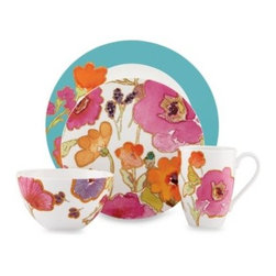 Lenox - Lenox Floral Fusion Aqua 4-Piece Place Setting - Big, bold blooms in shades of orange, fuschia, and purple dance across this white porcelain dinnerware. The pattern is fresh and fun, and will appeal to your artistic side.