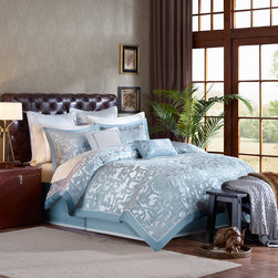 Madison Park Signature - Madison Park Signature Castello 8 Piece Comforter Set - The blue geometric inspired pattern of the Castello comforter creates a luxurious sophisticated feel to your bedroom. The slight sheen of the dusty blue border adds an extra glamorous touch to this look. A solid blue covers the reverse. Three decorative pillows with blue detailing complete the look. Comforter & Sham: 100% polyester jacquard with charmeuse pieced, 100% polyester brushed fabric reverse, 300g/m2 poly fill Bedskirt: 100% polyester charmeuse Euro: poly charmeuse with embroidery Pillow: 100% poly cover and poly filling