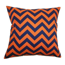 """The Pillow Collection - Xayabury Zigzag Pillow Orange Navy 20"""" x 20"""" - Create a savvy look in your bedroom or living space with this bold and joyous zigzag throw pillow. This accent pillow comes with a scene-stealing graphic print pattern in punchy orange and navy blue color palette. This decor pillow is ideal for casual and formal settings. This 20"""" pillow looks great when paired with other zigzag pillows or solids. Made from 100% plush cotton fabric, this pillow adds comfort and style to your interior. Hidden zipper closure for easy cover removal.  Knife edge finish on all four sides.  Reversible pillow with the same fabric on the back side.  Spot cleaning suggested."""