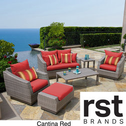 RST Brands - RST Brands Cannes 6-piece Love Seat and Club Chairs Set - For an intimate setting with company,this 6-piece outdoor seating set is a great addition to your outdoor oasis. Sink into plush cushions wrapped in Sunbrella fabric,and let the time slip away.