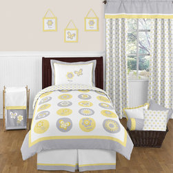Sweet Jojo Designs - Sweet Jojo Designs Mod Garden 4-piece Twin Comforter Set - The 4-piece Mod Garden twin bedding collection will create a fresh sunny setting in your child's room. This adorable set features detailed floral and butterfly themed appliques,and embroidery works.