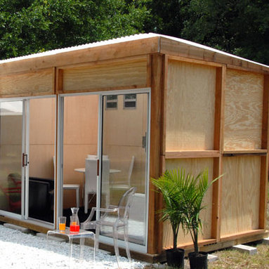 MetroShed - My husband and I have been watching Metroshed for a few years. It's unbelievable what they can deliver to your house. These prefab sheds are incredibly versatile. They can be used as garden sheds, guest houses, pool houses, at home offices or just about anything you can think of. They're pretty customizable so can have a different look, depending on what your want. The entire kit is delivered to your house and they advertise easy assembly. I love it.
