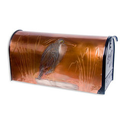Heron Post Mount Copper Mailbox - Copper - Bird enthusiasts will appreciate the graceful beauty of the heron, captured in picture form on this post mount copper mailbox.  The artwork is hand-embossed, and signed and dated by the artist.
