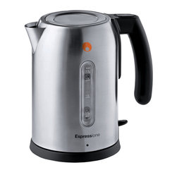 Espressione - Espressione Stainless Steel Kettle - Espressione Jug Kettle provides superior performance and adds style to your tea experience. Outfitted with a beautiful brushed stainless steel body, this modern kettle comes with covetous design and special features. Espressione Jug Kettle sports a rapid boil system with a powerful heating mechanism that is both safe and quiet in operation. The unique flip lid for single handed use provides visual effect from the top and allows easy refill functionality. Wide accu-spout for easy filling and accurate pouring. The 360 Degree rotation base and cordless operation, light indicator and large easy grab handle all add to the functionality, ease of use and safety of the Kettle. Brushed stainless steel body.