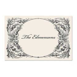 Frontgate - Personalized Paper Placemats - Choose a one line message/name in script font up to 18 characters. Printed with soy based ink on recycled paper. Inspired by the beauty of vintage pieces. Available in three different designs: Perfect Setting, Flourish, and Italian Scroll. Set of 25 disposable placemats. Personalize your placemats with a message or family name — think Mary's Birthday or 25th Anniversary — for a unique touch to any festive occasion. The eco-friendly placemats afford a beautiful yet practical enhancement to any event, from sophisticated to casual, and clean up easily when the party is over.  .  .  . . . Personalized items are non-returnable. Made in the USA.