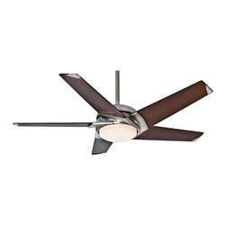 """Casablanca - Contemporary 54"""" Casablanca Stealth Nickel Walnut Finish LED Ceiling Fan - This contemporary Casablanca fan is the best option for style and versatility. Finished in a brushed nickel with warm walnut finish blades this ceiling fan is best for modern inspired decor. The included full function wall control offers four different fan speeds. The LED design adds energy efficiency while dust armor blades keep this fan clean. Lifetime motor warranty. ENERGY STAR® rated.  Brushed nickel finish motor.  Dust Armor™ coated dark walnut finish blades.  54"""" blade span.  14 degree blade pitch.  ENERGY STAR® rated.  188 x 20 mm motor size.  Lifetime motor warranty.  Full function 4-speed wall control system included.  Integrated light.  Includes one 16 watt dimmable LED  Includes 2"""" and 3"""" downrods.  Fan is 10 3/4"""" high from ceiling to blade (with 3"""" downrod).  Fan is 13 1/4"""" high from ceiling to bottom light (with 3"""" downrod).  Canopy is 5 1/2"""" wide 3"""" high."""