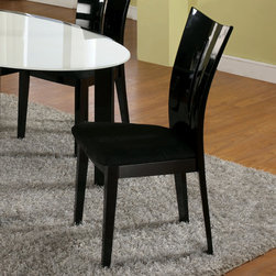 Chintaly - Lafayette Side Chair (Set of 2) (Set of 2) - Features: -Seat upholstered in black microfiber.-Sturdy design.-Comfortable seating.-Easy to clean.-Contour back.-Lafayette collection.-Collection: Lafayette.-Distressed: No.Dimensions: -Overall Product Weight: 37 lbs.Warranty: -Manufacturer provides one year warranty on normal wear and tear and manufactory defects.