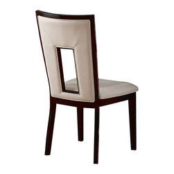 Steve Silver - Steve Silver Delano Side Chair (Set of 2) - For a sleek and contemporary look, the Delano Side Chairs feature a beautiful white vinyl seat and cut out back and is finished in a rich espresso. What's included: Side Chair (1).